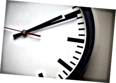 Une horloge analogique: à mesure que le temps augmente, les angles des aiguilles augmentent également.