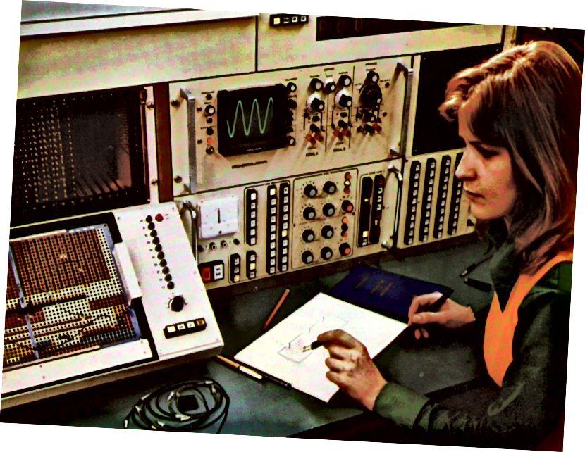 Ingénieur d'exploitation de l'ordinateur analogique Telefunken 770 RA.