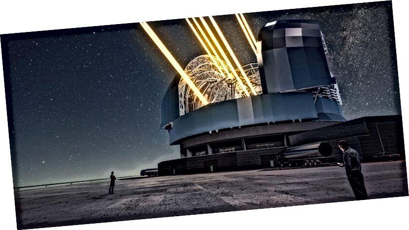Kết xuất của nghệ sĩ này cho thấy một cái nhìn ban đêm của Kính thiên văn cực lớn đang hoạt động trên Cerro Armazones ở miền bắc Chile. Kính thiên văn được hiển thị bằng cách sử dụng tia laser để tạo ra các ngôi sao nhân tạo cao trong bầu khí quyển. (ESO / L. Calçada)