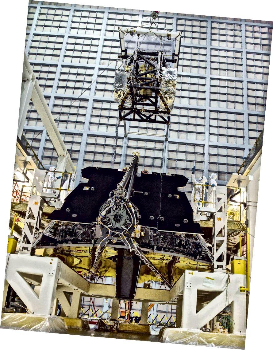 Các thiết bị khoa học trên mô-đun ISIM được hạ xuống và cài đặt vào tổ hợp chính của JWST vào năm 2016. Những công cụ này đã hoàn thành nhiều năm trước đó và thậm chí sẽ không được sử dụng lần đầu tiên cho đến năm 2019 sớm nhất. (NASA / Chris Gunn)