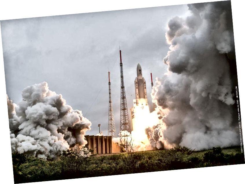 Ngày 12 tháng 12 năm 2017, nhiệm vụ thành công thứ 82 liên tiếp của Ariane 5 từ Guiana thuộc Pháp. Chuyến bay này, VA240, nên là đại diện cho những gì JWST nhìn thấy khi nó ra mắt vào năm 2019. Có thể thành công; để phóng không gian, chúng ta chỉ có một cơ hội. (Arianespace)