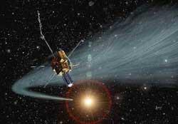 Umjetnikov dojam da Ulysses prolazi kroz rep kometa Hyakutake u svibnju 1996. Izvor: NASA JPL