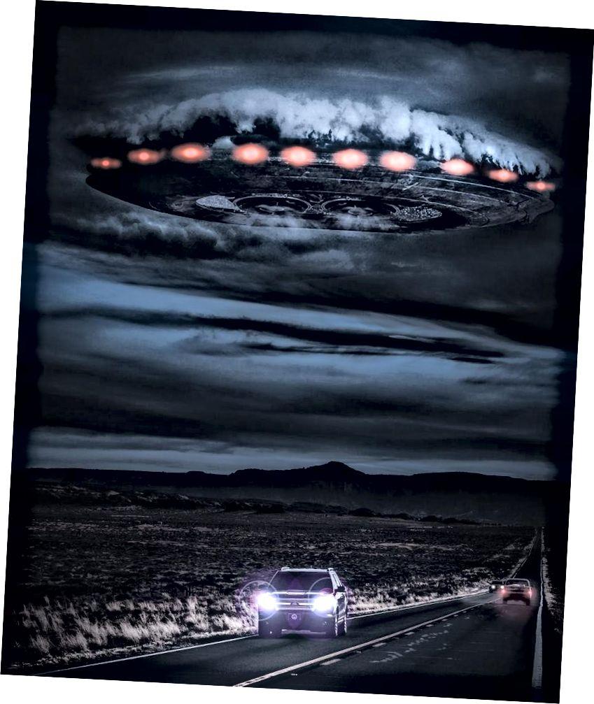 Μια εικόνα της πρώτης επαφής μπορεί να μοιάζει αν ένα εξωγήινο πλοίο έφτασε πάνω από τη γη στη Γη. Πιστωτική εικόνα: Andrés Nieto Porras.