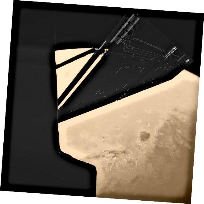 Zapanjujuća slika svemirske letjelice Rosetta iznad Marsa, snimljena kamionskom kamerom Philae na brodu Rosetta. Izvor: ESA