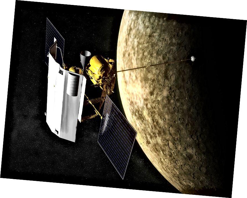 Umjetnikov dojam da je MESSENGER bio u orbiti oko Merkura. Izvor: Wikipedia