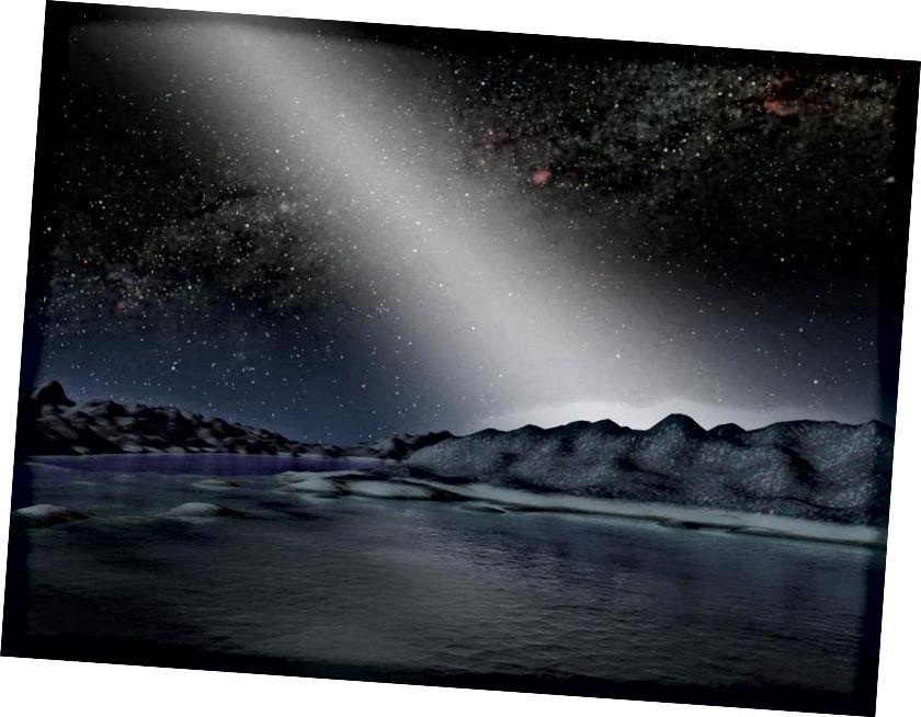 Η εικόνα αυτού του καλλιτέχνη για έναν εξωγήινο κόσμο με ισχυρότερο ζωδιακό φως και μια αστεροειδή ζώνη 25 φορές μεγαλύτερη από τη δική μας πυκνότητα είναι συναρπαστική, αλλά ένας ανώτερος τεχνολογικός πολιτισμός μπορεί απλώς να τραβήξει εικόνες τόσο καλές, παρά να δημιουργήσει εικόνες. Πιστωτική εικόνα: NASA / JPL-Caltech.