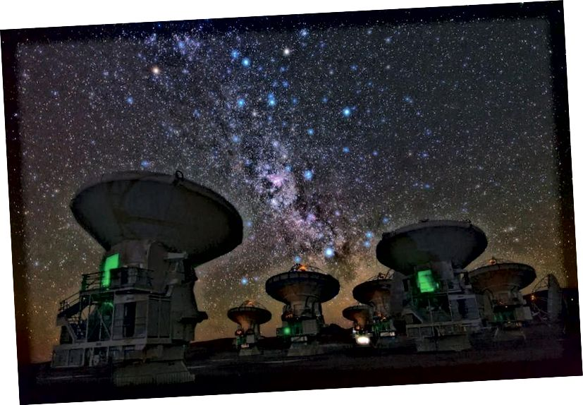 «Ալմայի» հարավային հարավային հարավային ճանապարհը, ինչպես վերը նշված է ԱԼՄԱ-ում, ցույց է տալիս խելացի այլմոլորակայինների ազդանշաններ որոնելու մի ճանապարհ ՝ ռադիոկապի միջոցով: Եթե մենք ազդանշան գտնեինք, կամ եթե մենք փոխանցեինք այնպիսի ազդանշան, որը այնուհետև գտնվեց և պատասխանվեց, դա կլինի մեր մոլորակի պատմության ամենամեծ ձեռքբերումներից մեկը: Պատկերի վարկ. ESO / B Թաֆրեշի / TWAN.