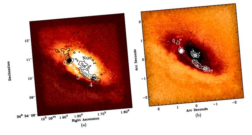 Gambar. 4, Tremblay et al. Simpul pembentuk bintang pada inti 3C 236. Inti itu sendiri, menyembunyikan lubang hitam supermasif, dikelilingi oleh jalur debu