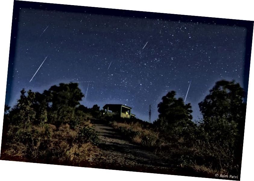 Ovaj kratak vremenski razmak od meteorskog kiše Geminid iz 2013. godine pokazuje zajedničku točku podrijetla za sve Geminidne meteore;