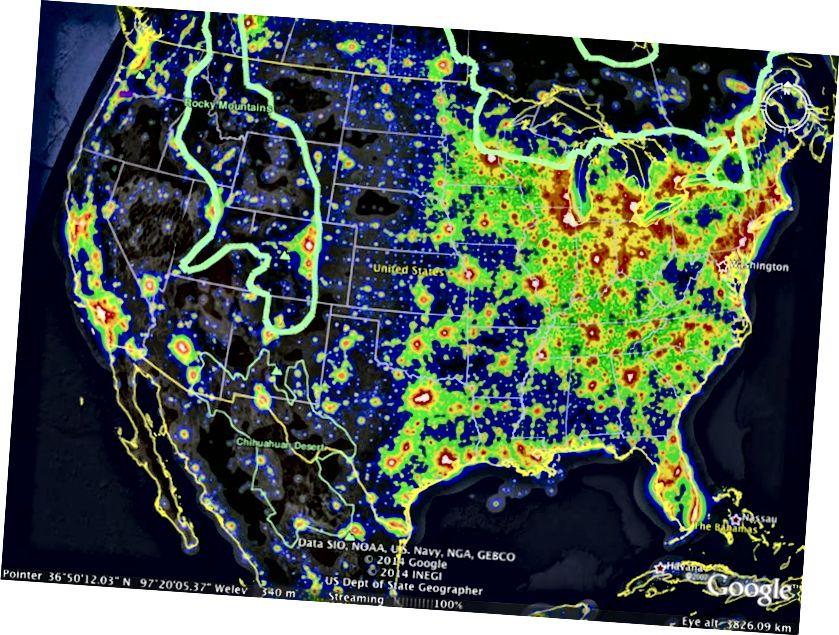 Najtamnije nebo pružaju Geminidima najveće uvjete za gledanje. Krenite tamo gdje je najmanje zagađeno svjetlo i nebo je čisto, i uživajte u predstavi! Bonus slike: E. Siegel, izrađen pomoću sloja Google Earth.