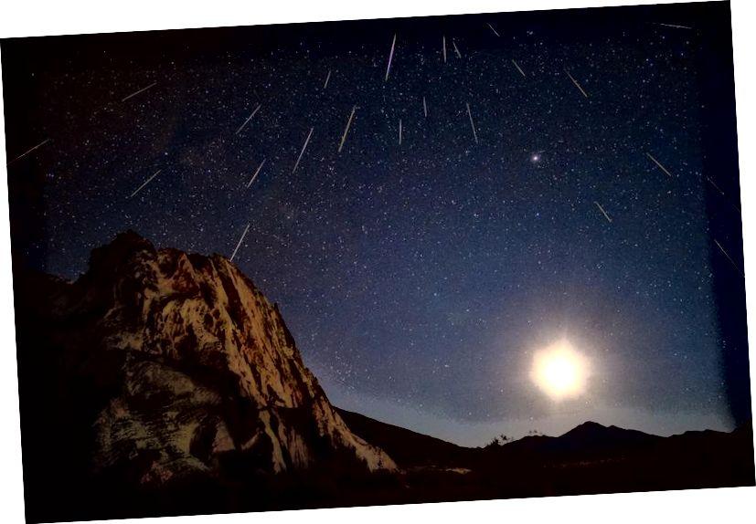 Neki strašni meteori Geminida, snimljeni u vremenskom roku s vidljivim Mjesecom. Kreditna slika: David Kingham / flickr.