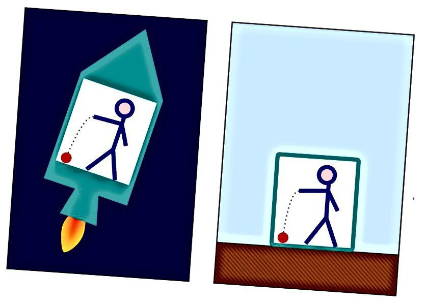 Ідэнтычнае паводзіны шара, які падае на падлогу ў разгоне ракеты (злева) і на Зямлю (справа), з'яўляецца дэманстрацыяй прынцыпу эквівалентнасці Эйнштэйна. Хоць вы не можаце сказаць, ці паскарэнне звязана з гравітацыяй ці іншым паскарэннем з дапамогай аднаго вымярэння, вымярэнне розных паскарэнняў у розных кропках можа паказаць, ці ёсць гравітацыйны градыент па кірунку паскарэння. (WIKIMEDIA COMMONS USER MARKUS POESSEL, АТРЭБРАНЫ ПБРОКС13)