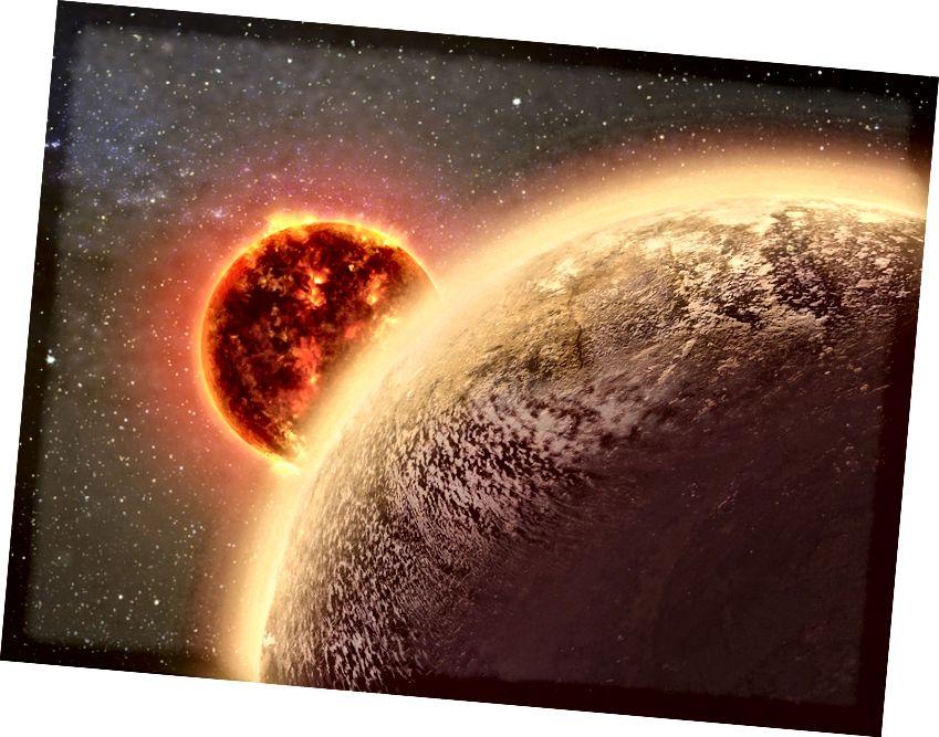 Un'illustrazione di un panet intorno ad una stella nana rossa. Solo i mondi giganti gassosi sono abbastanza grandi da poter rilevare le loro atmosfere in questo momento. Credito d'immagine: ESO.