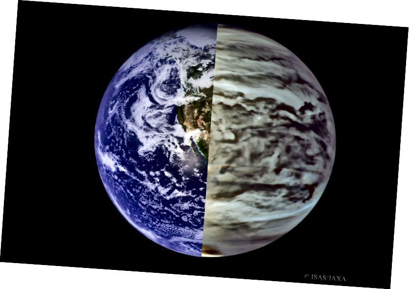 Jorden (L) i synligt ljus, jämfört med Venus (R) i infrarött ljus. Medan jordens reflektivitet kommer att variera över tiden, kommer Venus att förbli konstant. Bildkredit: NASA / MODIS (L), ISIS / JAXA (R), sömmar av E. Siegel.