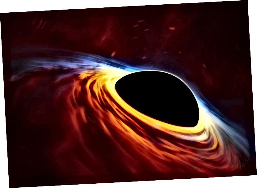 Kad dovoljno masivna zvijezda završi svoj život ili se dvije dovoljno zvjezdane ostatke spoje, može se formirati crna rupa s horizontom događaja proporcionalnim njegovoj masi i nagomilavajućim diskom koji pada oko nje. Kreditna slika: ESA / Hubble, ESO, M. Kornmesser.