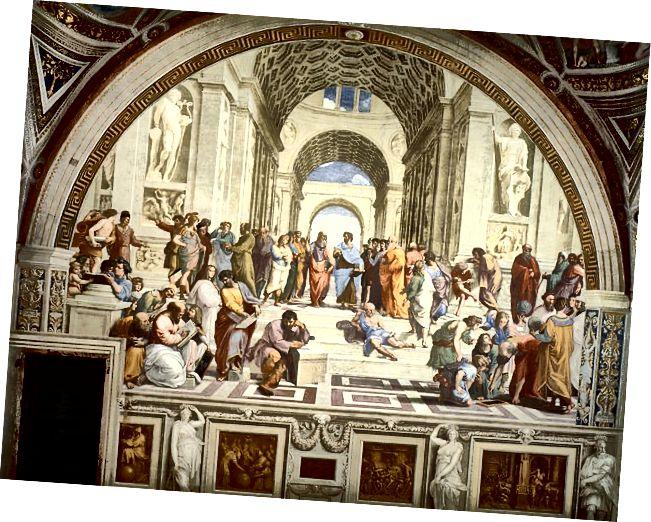 ஏதென்ஸ் பள்ளி, இடது மூலையில் உள்ள ஒவ்வொரு பண்டைய கிரேக்க தத்துவஞானி பித்தகோரஸையும் சித்தரிக்கிறது