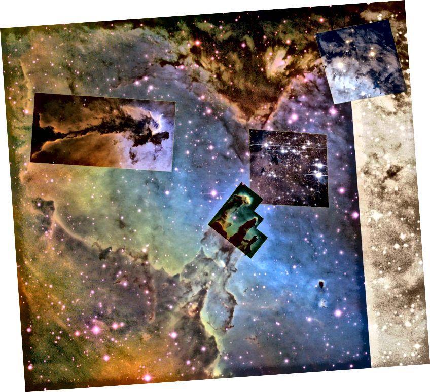 Kotkaste udukogu sisaldab tuhandeid uusi tähti, hiilgavat kesktähetükki ja erinevaid aurustuvaid gaasilisi gloobuseid, mis sisaldavad aktiivset tähekujundust ja omaette säravaid noori tähti. (NASA / ESA & HUBBLE; WIKISKY TOOL)