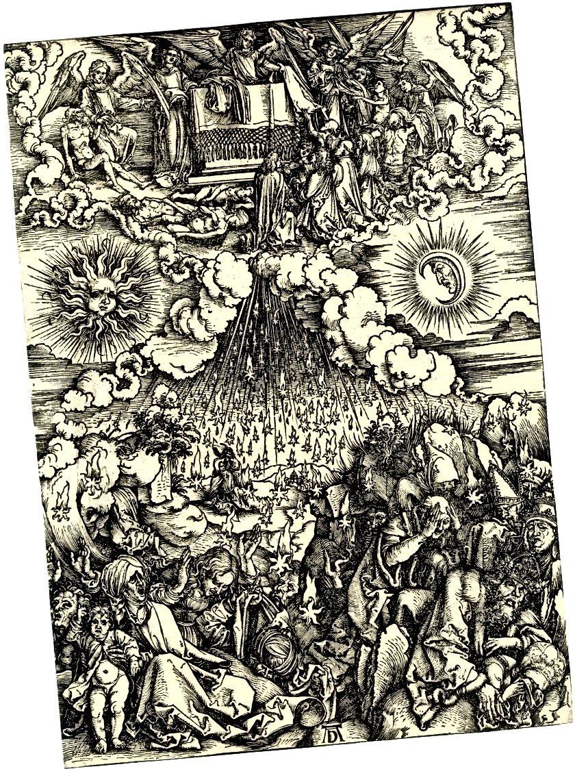 'Otvaranje petog i šestog pečata', reznica iz serije Apokalipsa, autora Albrechta Dürera, objavljena 1498.
