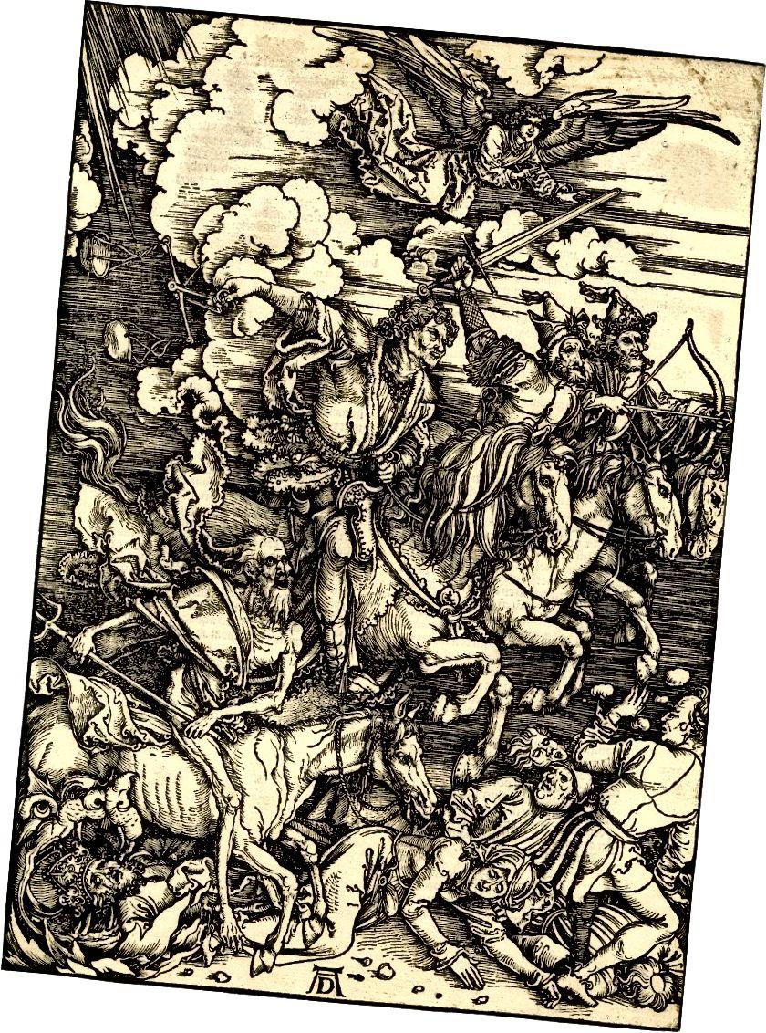 Četiri konjanika Apokalipse: Smrt, glad, kuga i rat, drvosječa, iz serije Apoclipse, autora Albrechta Dürera, objavljena 1498.