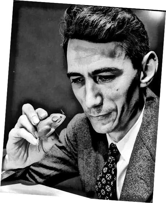Это Клод с мышью Тесей. Он построил мышь для решения лабиринтов как раннюю иллюстрацию искусственного интеллекта. (Предоставлено: Wikimedia Commons)