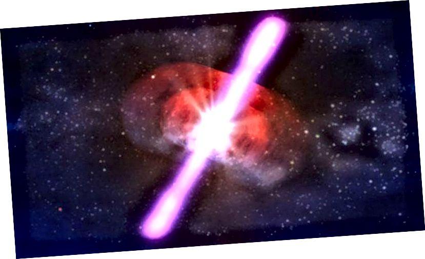 Një ilustrim i një procesi shumë të lartë energjetik në Univers: një shpërthim rrezesh gamme. Kredia e figurës: NASA / D. Berry.
