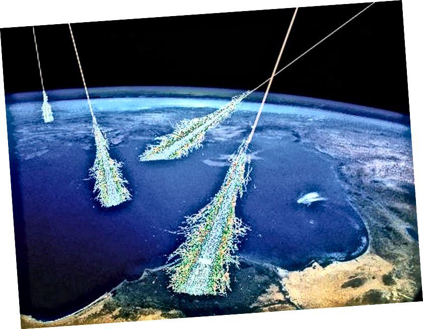 Një ilustrim i rrezeve kozmike që godasin atmosferën e Tokës. Kredia e figurës: Simon Swordy (U. Chicago), NASA.