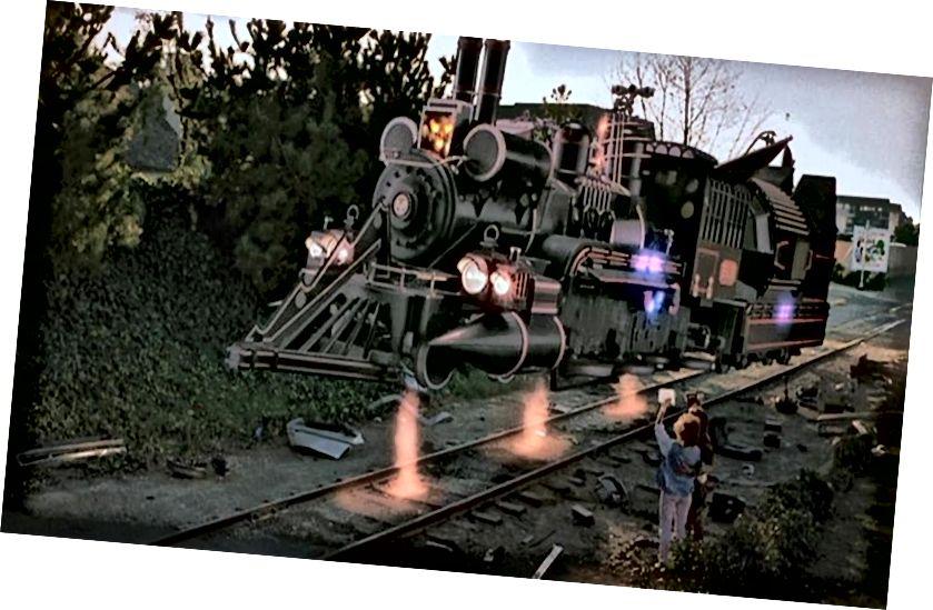 Vlak Julesa Verna od natrag u budućnost, III dio. To možda nije imao na umu Einstein! Kreditna slika: R. Zemeckis / Povratak u budućnost III.