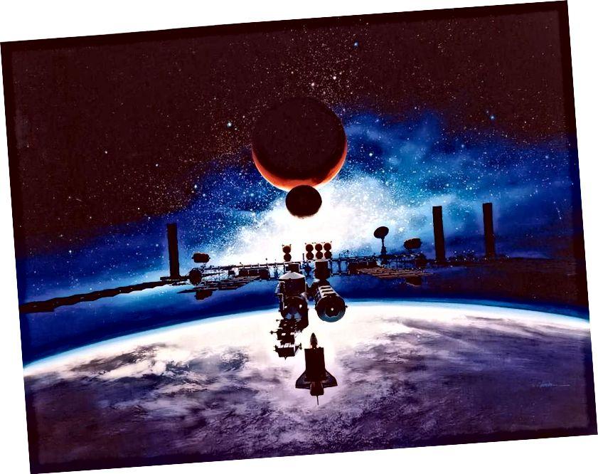 Alan Chinchar iz 1991. godine predložio svemirsku stanicu slobode u orbiti. Svaka civilizacija koja stvori ovako nešto definitivno bi se smatrala znanstveno / tehnološki naprednom, ali zaključivanje njihovog postojanja nije više od želje za razmišljanje u ovom trenutku. (NASA)