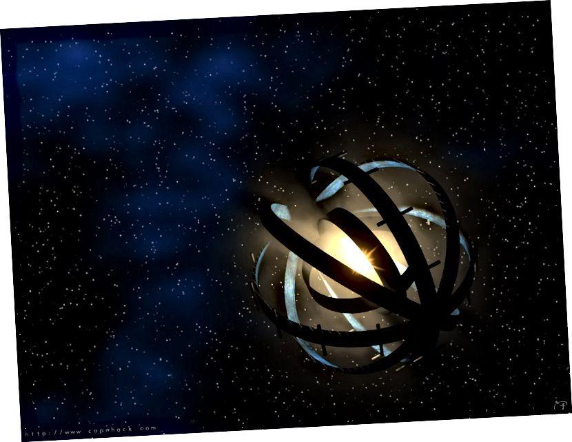 கட்டுமானத்தில் உள்ள ஒரு டைசன் கோளம், இது பெரிய ஃப்ளக்ஸ் குறைந்து, காலப்போக்கில் படிப்படியாக நட்சத்திரத்தை மங்கச் செய்கிறது. படக் கடன்: http://energyphysics.wikispaces.com/Proto-Dyson+Sphere வழியாக கேப்ன்ஹேக்கின் பொது டொமைன் கலை.