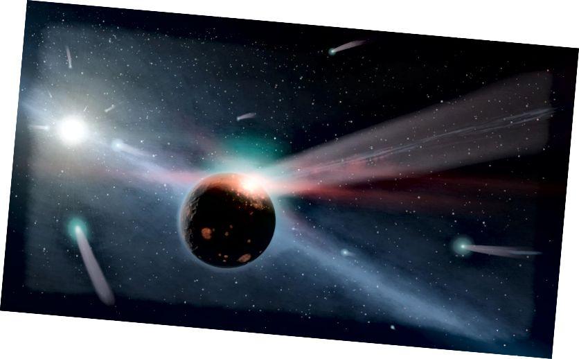 Μια εικόνα μιας καταιγίδας κομητών γύρω από ένα αστέρι κοντά στο δικό μας, που ονομάζεται Eta Corvi. Πιστωτική εικόνα: NASA / JPL-Caltech.
