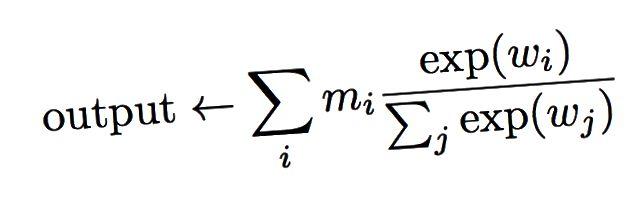 Müvəqqəti diqqət şəbəkəsi, c: kontekst vektoru, m: yaddaş vektoru, q: sorğu vektoru, v: öyrənilən vektor çəkisi. Çıxış yaddaş vektoru ilə eyni ölçüdədir. Bəzi yaddaş vektorunun kontekst və sorğu vektorlarına əsaslanaraq çıxışa daha çox təsir göstərməsinə imkan verən həmin vektorun xətti birləşməsidir.