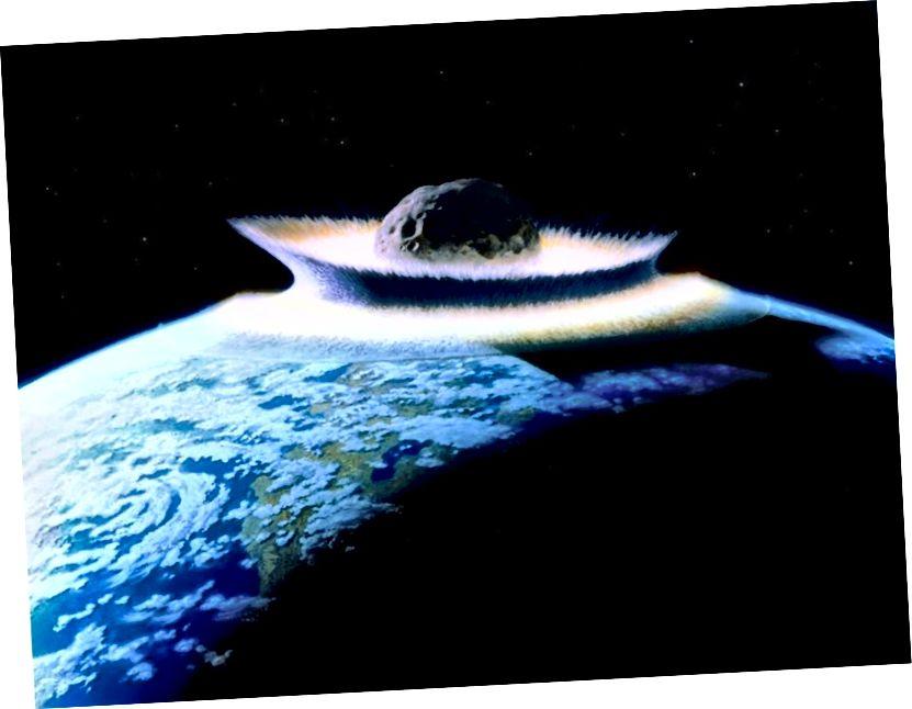 Ang isang malaki, mabilis na paglipat ng masa na tumatama sa Earth ay tiyak na may kakayahang magdulot ng isang kaganapan ng pagkalipol ng masa. Gayunpaman, ang gayong teorya ay mangangailangan ng malakas na katibayan ng pana-panahong epekto, na tila wala sa Earth. Credit ng larawan: Don Davis / NASA.