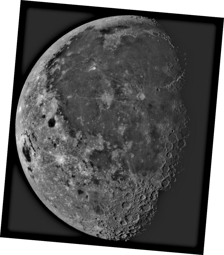 Ang malaking palanggana na ipinakita dito, ang Oceanus Procellorum, ang pinakamalaki at isa rin sa bunso sa lahat ng lunar maria, tulad ng ebidensya ng katotohanan na ito ay isa sa mga pinakakaunting bunganga. Credit ng larawan: NASA / JPL / Galileo spacecraft.