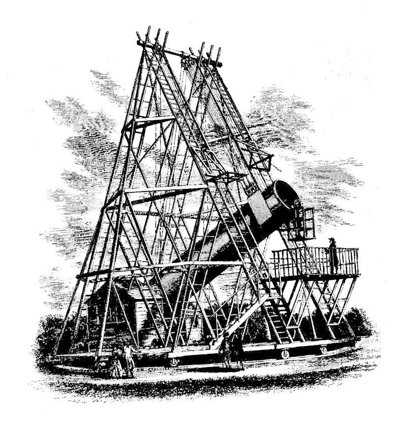 Najväčší a najslávnejší z Herschelových ďalekohľadov bol zrkadlový ďalekohľad s primárnym zrkadlom s priemerom 1,12 m (1,26 m) a ohniskovou vzdialenosťou 40 metrov (12 m).