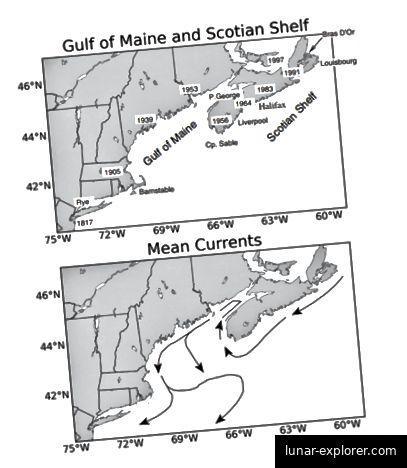 Abb. 2: Diese Karte zeigt sowohl das Ausmaß der europäischen Krabbeninvasion im Golf von Maine als auch die Meeresströmungen in diesem Gebiet. (Pringle et al., 2011).