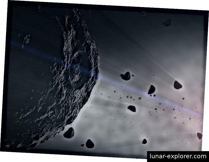 Asteroiden, die miteinander kollidieren, können Staub erzeugen, der von der Schwerkraft von Planeten aufgefangen werden kann und Ringe bildet. Imagegutschrift: Das Konzeptionslabor Goddard Space Flight Center der NASA
