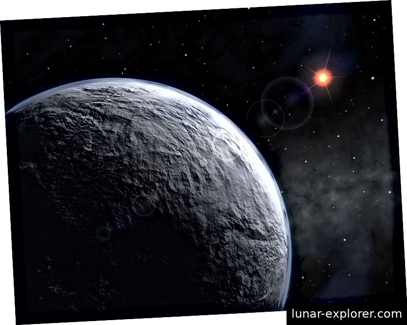 Ein künstlerischer Eindruck von OGLE-2005-BLG-390Lb, einem Exoplaneten, der 2005 durch Gravitations-Mikrolinsen entdeckt wurde. Bildnachweis: ESO unter der Creative Commons Attribution 3.0 Unported-Lizenz.