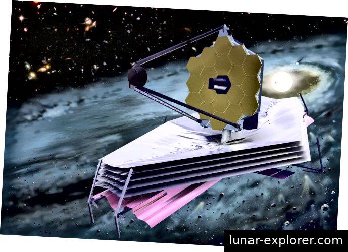 Eindruck des Künstlers vom Weltraumteleskop James Webb. JWST ist vielleicht eines der aufregendsten Instrumente der nächsten Jahre, aber auch WFIRST - und die beiden sind sehr unterschiedliche Teleskope. Bildnachweis: NASA