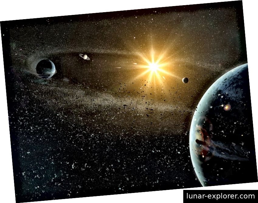 Das Sonnensystem bildete sich aus einer Gaswolke, aus der sich ein Protostern, eine Planetoplanescheibe und schließlich die Samen für das, was Planeten werden würden, gebildet haben. Die Krönung der Geschichte unseres eigenen Sonnensystems ist die Schaffung und Bildung der Erde, so wie wir sie heute haben, was möglicherweise keine so besondere kosmische Seltenheit war, wie es einmal gedacht wurde. (NASA / DANA BERRY)
