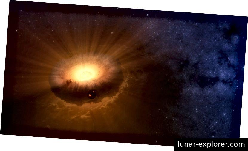 Ein Beispiel dafür, wie eine Synästhesie aussehen könnte: Ein aufgeblähter Ring, der einen Planeten nach einem hochenergetischen, großen Drehimpulsaufschlag umgibt. (SARAH STEWART / UC DAVIS / NASA)