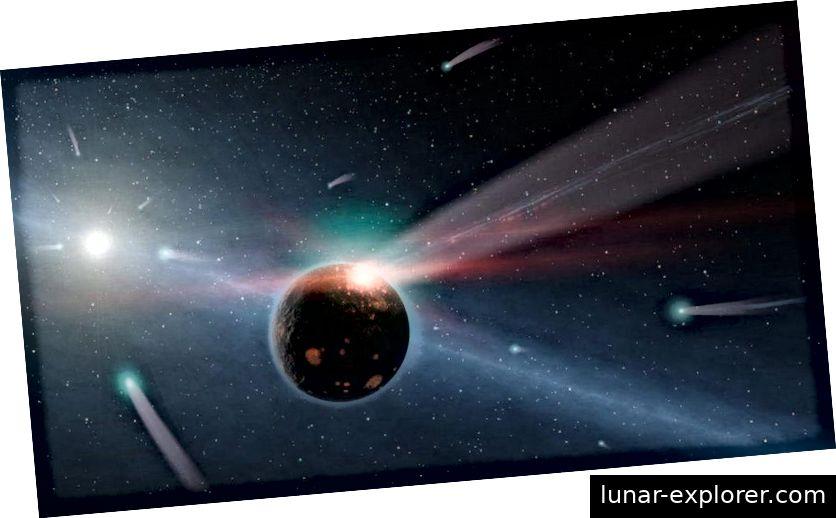 Anstelle eines einzigen Aufpralls aus einer massiven, marsgroßen Welt im frühen Sonnensystem hätte ein Mond mit einer viel geringeren Masse, aber immer noch mit hoher Energie zu unserem Mond geführt. Es wird erwartet, dass solche Kollisionen weitaus häufiger sind und einige der Eigenschaften, die wir auf dem Mond sehen, besser erklären können als das traditionelle Theia-ähnliche Szenario mit einem riesigen Einfluss. (NASA / JPL-CALTECH)