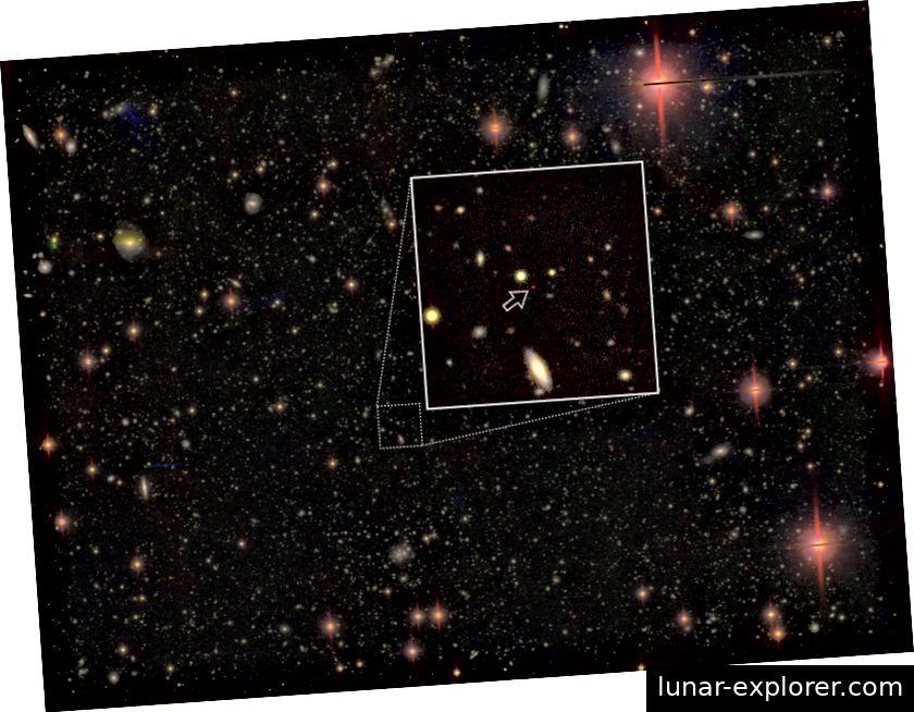 Dieses Objekt ist eines der entferntesten Quasare, das jemals gesehen wurde, und liegt ungefähr 13,05 Milliarden Lichtjahre von der Erde entfernt. Es erscheint rot aufgrund der kosmischen Expansion und der Absorption von Licht, wenn es durch den intergalaktischen Raum wandert. Andere Objekte auf dem Foto sind Sterne und Galaxien. Bildnachweis: NAOJ