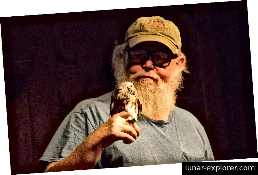 Dr. Glenn Proudfoot hält eine Saw Whet-Eule, während er während eines öffentlichen Programms von Mohonk Preserve seine Forschungen diskutiert © Karen Maloy Brady