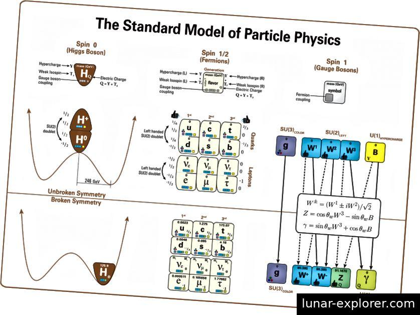 Dieses Diagramm zeigt die Struktur des Standardmodells und veranschaulicht die wichtigsten Beziehungen und Muster. Dieses Diagramm zeigt insbesondere alle Partikel im Standardmodell, die Rolle des Higgs-Bosons und die Struktur der elektroschwachen Symmetrie, die zeigt, wie der Higgs-Vakuumerwartungswert die elektroschwache Symmetrie bricht und wie sich die Eigenschaften der restlichen Partikel ändern als Konsequenz. Beachten Sie, dass das Z-Boson sowohl mit Quarks als auch mit Leptonen gekoppelt ist und durch Neutrino-Kanäle zerfallen kann. (LATHAM BOYLE UND MARDUS VON WIKIMEDIA COMMONS)