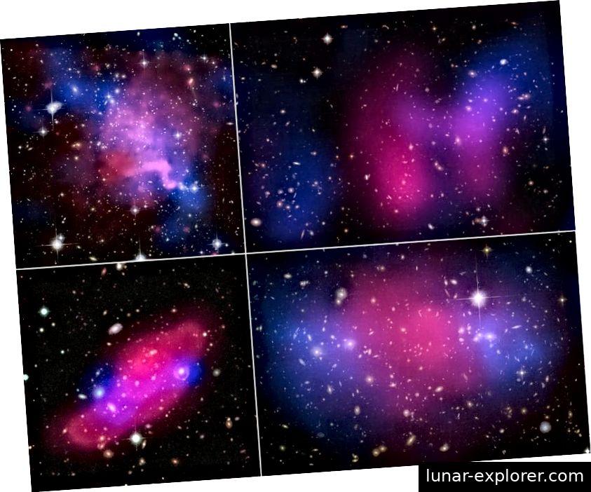 Vier kollidierende Galaxienhaufen zeigen die Trennung zwischen Röntgenstrahlen (pink) und Gravitation (blau) und weisen auf dunkle Materie hin. In großen Maßstäben ist kalte dunkle Materie erforderlich, und es ist keine Alternative oder Alternative erforderlich. (X-RAY: NASA / CXC / UVIC. / A.MAHDAVI ET AL. OPTICAL / LENSING: CFHT / UVIC. / A MAHDAVI ET AL (TOP LINKS); X-RAY: NASA / CXC / UCDAVIS / W.DAWSON ua; OPTISCH: NASA / STSCI / UCDAVIS / W.DAWSON ET. (OBEN RECHTS); ESA / XMM-NEWTON / F. GASTALDELLO (INAF / IASF, MILANO, ITALIEN) / CFHTLS (UNTEN LINKS); X-RAY: NASA, ESA, CXC, M. BRADAC (UNIVERSITÄT KALIFORNIEN, SANTA BARBARA) und S. ALLEN (STANFORD UNIVERSITY) ))