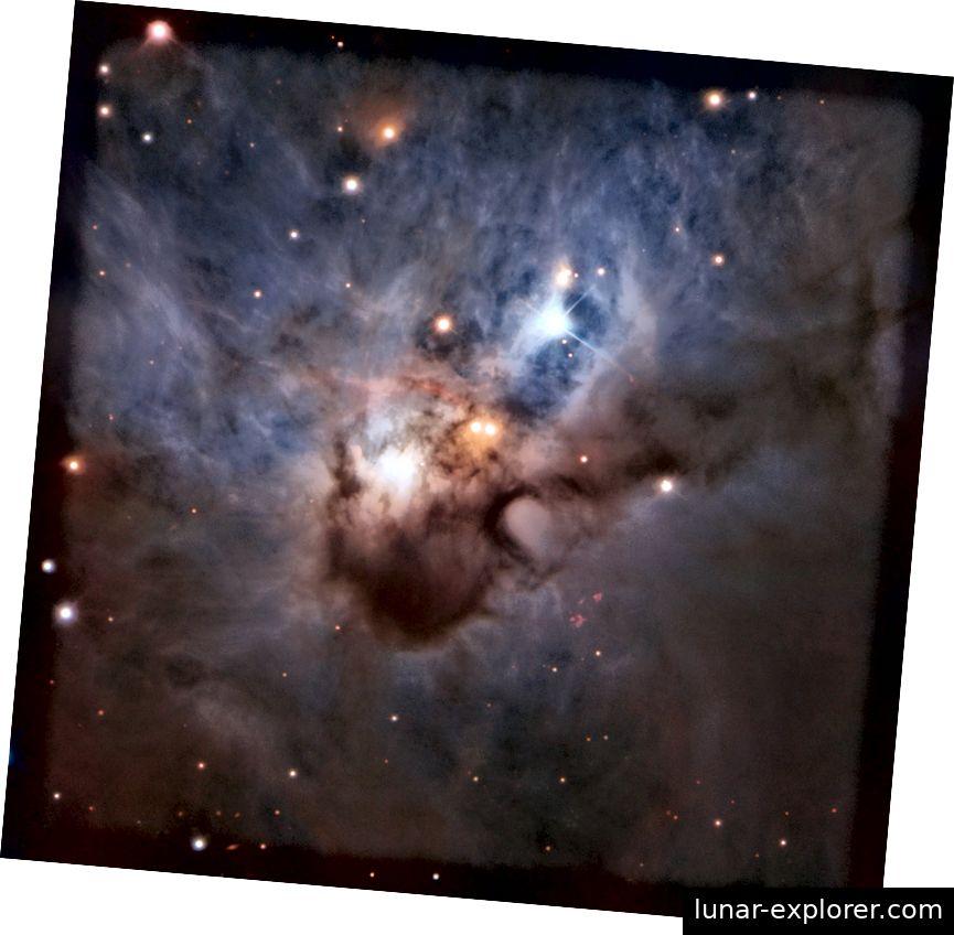 Verborgen in einer der dunkelsten Ecken des Orion-Sternbildes, verbreitet dieser Cosmic Bat seine dunstigen Flügel im zweitausend Lichtjahr entfernten interstellaren Raum. Es wird von den jungen Sternen beleuchtet, die sich im Kern befinden. Obwohl sie von undurchsichtigen Staubwolken umhüllt sind, erleuchten ihre hellen Strahlen immer noch den Nebel. NGC 1788 ist zu schwach, um mit bloßem Auge wahrgenommen zu werden. Er zeigt dem Very Large Telescope von ESO in diesem Bild seine sanften Farben - die bis heute detailliertesten (ESO).