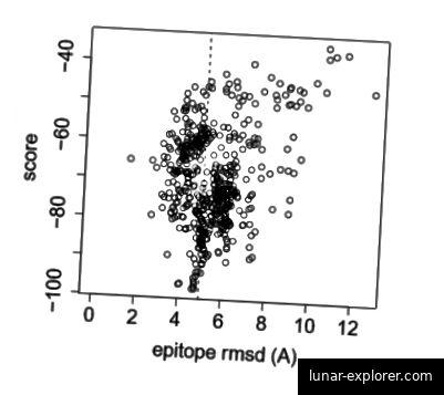 Eine Darstellung der Energie (Score) im Vergleich zum Referenzzustand (Epitop RMSD) mehrerer angedockter Strukturen. Beachten Sie den Trichter, wenn die angedockten Strukturen in einer Konformation mit niedriger Energie konvergieren.