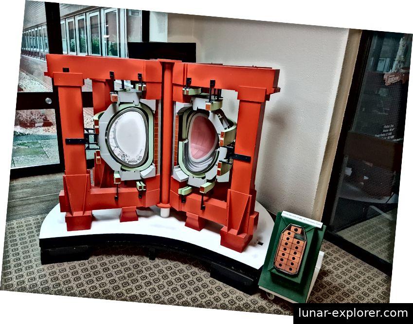 """Schnittmodell von MAST. Die innere, kugelförmigere """"Kernapfelform"""" ist in der inneren Reaktorkammer sichtbar."""