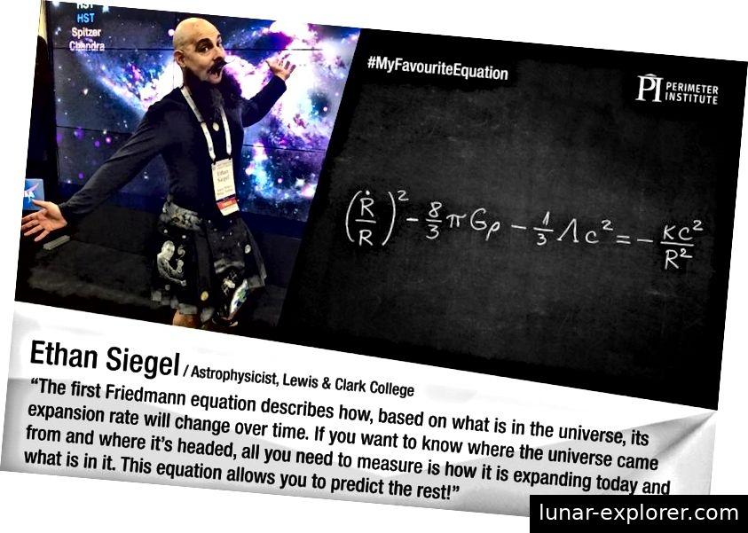 Ein Foto von mir auf der Hyperwall der American Astronomical Society 2017 sowie die erste Friedmann-Gleichung rechts. Der erste Term in der Friedmann-Gleichung beschreibt die Hubble-Expansionsrate im Quadrat, die die Entwicklung der Raumzeit bestimmt. Die verbleibenden Begriffe umfassen alle verschiedenen Formen von Materie und Energie sowie räumliche Krümmung, die bestimmt, wie sich das Universum in der Zukunft entwickelt. Diese wurde in der gesamten Kosmologie als die wichtigste Gleichung bezeichnet und wurde bereits 1922 von Friedmann im Wesentlichen in seiner modernen Form abgeleitet. (PERIMETER INSTITUT / HARLEY THRONSON)