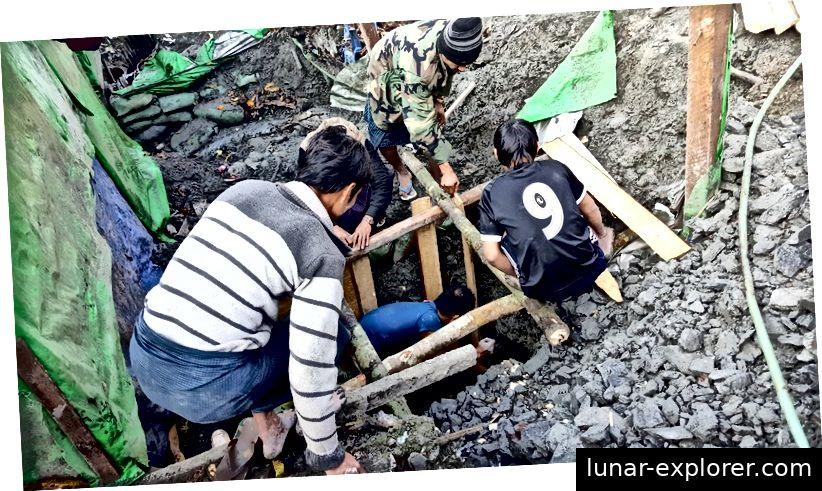 Bernsteinmine im Bundesstaat Kachin in Myanmar. Bildnachweis: Huabao Dong